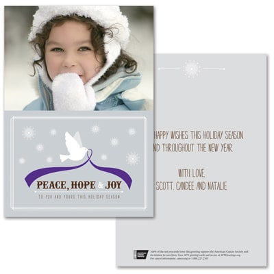 Tranquility Dove Photo Card - Purple Ribbon