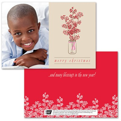 Berry Christmas Photo Card - Pink Ribbon