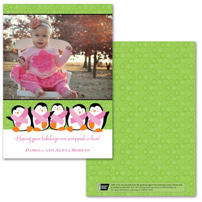 Penguin Pals Photo Card - Pink Ribbon