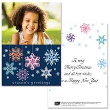 Multi Ribbon Snowflakes Photo Card