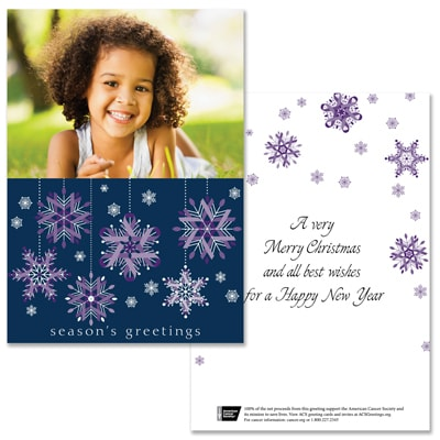 Purple Ribbon Snowflakes - 1 Photo