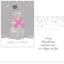 Tranquil Snowman - Pink Ribbon