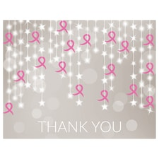 Ribbon String Thank You Card - Pink Ribbon