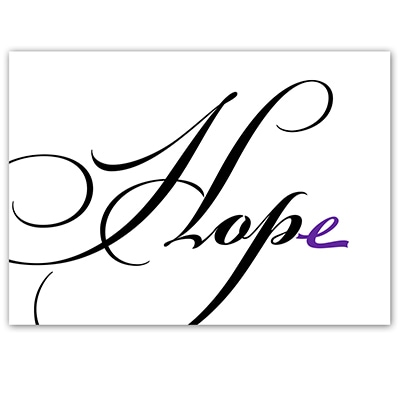 HOPE - Purple Ribbon Note Card
