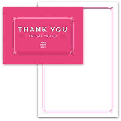 Pink Gratitude Thank You Card