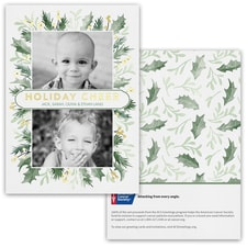 Holly and Pines Photo Card