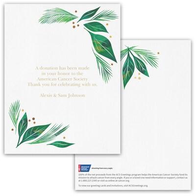 Elegant Greenery Donation Card