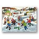 Jouer sur la rivière gelée