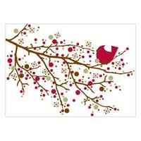 Cardinal sur branche de houx