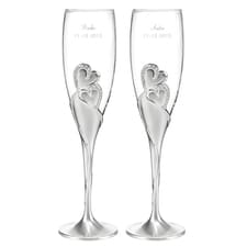 Personalized Sparkling Hearts Flutes
