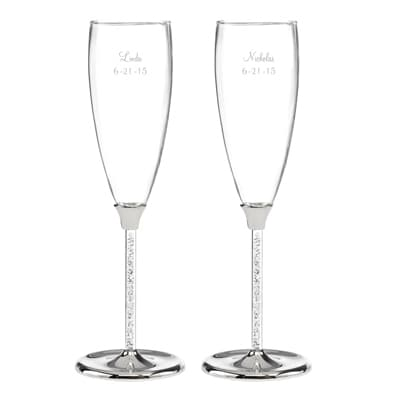 Personalized Glittering Stem Flutes