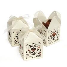 Ivory Square Decorative Favor Boxes