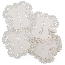White Shimmer Laser Cut Table Number Cards 1 - 10