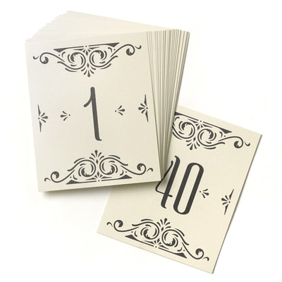 Glamour Table Number Cards