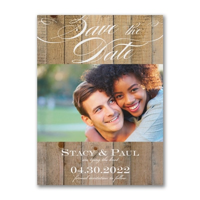 Vintage Woodgrain Love - Save the Date