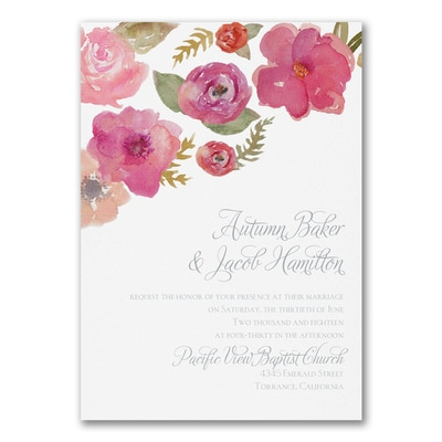 Watercolor Flowers - Invitation