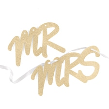 Glitter Mr. and Mrs. Sign Set - Gold