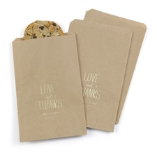 Love & Thanks Treat Bags - Kraft - Personalized