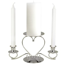 Triple Heart Candle Holder - Silver