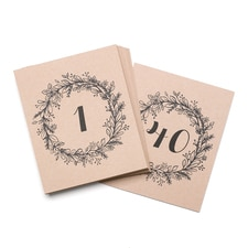 Rustic Wreath Table Number Cards 1 - 40