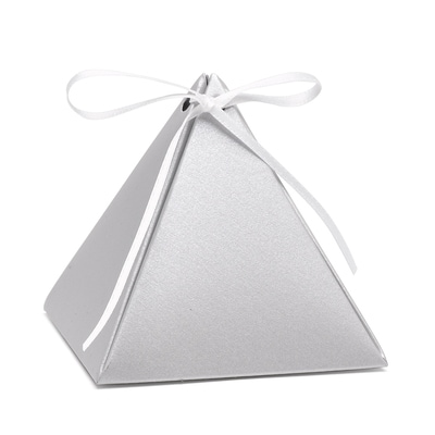 Pyramid Favor Box - Silver Shimmer - Blank