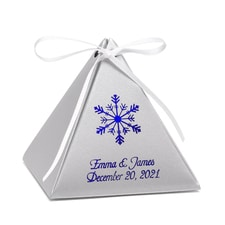 Pyramid Favor Box - Silver Shimmer - Personalized