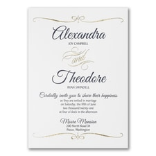 Foil Swirl - Invitation - White