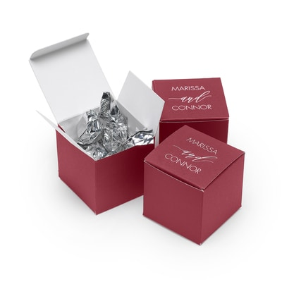 Favor Box - Personalized - Burgundy