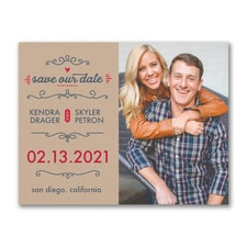 Kraft Date - Photo Save The Date Postcard