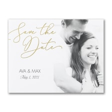 Romantic Script - Photo Save The Date Postcard