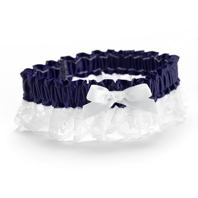 Ribbon and Lace Garter - Midnight