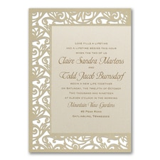 Fancy Detail Ecru Shimmer Invitation