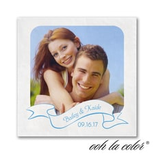 Photo Banner - Ooh La Color White Beverage Napkin