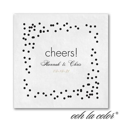 Confetti Toss - Ooh La Color White Beverage Napkin