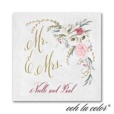 Ethereal Floral - Ooh La Color White Beverage Napkin