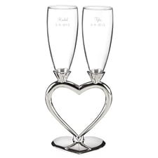 Silver Plated Stem Flutes Personalized