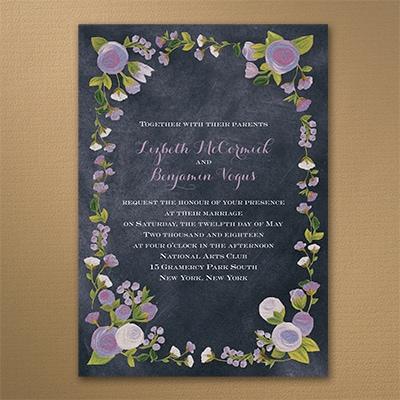 Chalkboard Roses - Invitation - Lavender