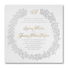 Rosy Wreath - Invitation - Fluorescent White