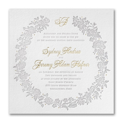 Rosy Wreath - Invitation - Fluorescent White