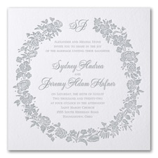 Letterpress wedding invitations: Rosy Wreath
