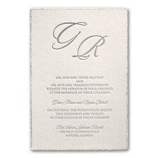 Deckled in Pearl - Wedding Invitation