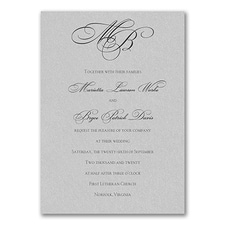 Monogram wedding invitation: Silver Shimmer Tiffany