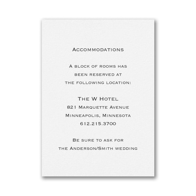 Accommodation Card - Vertical - White