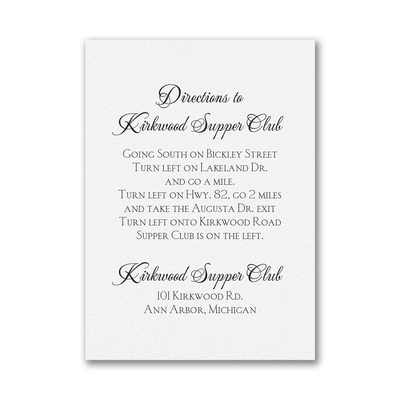 White Vertical - Direction Card