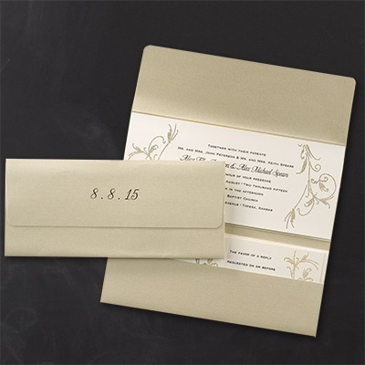 Laser cut dotted flourish invitation champagne toast for Laser cut wedding invitations houston