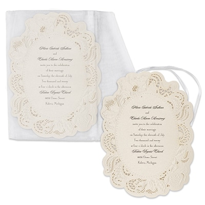 Vintage Doily - Invitation with sheer envelope