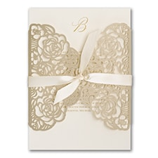 laser cut invitation: Sumptuous Rose