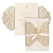 laser cut invitation: Sumptuous Rose