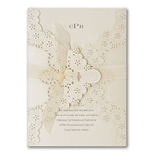 Elegant Floral Lace - Invitation