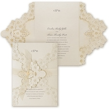 Elegant Floral Lace  - ribbon invitation